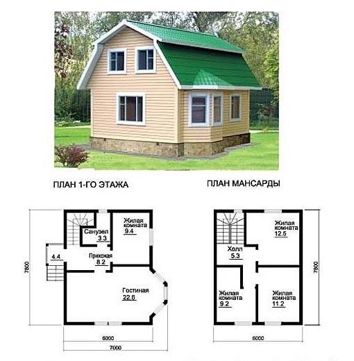 проекты домов из бруса с мансардой 8 на 10 фото
